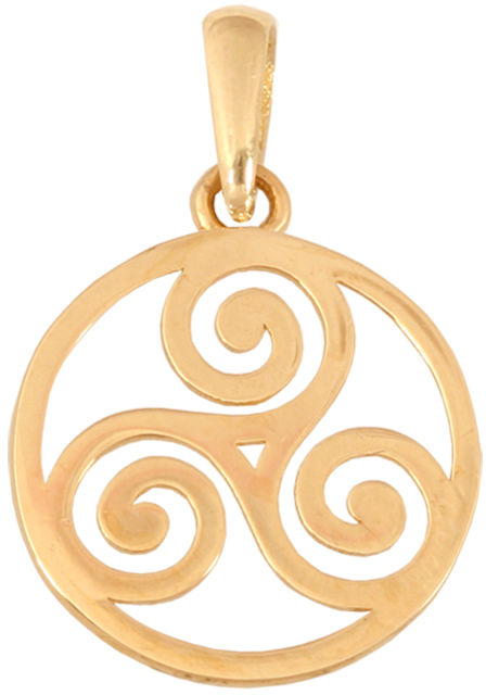 Złota przywieszka 585 w formie wiatraczka otoczonego okrągłą ramką.
