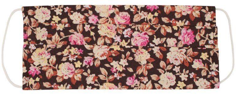 Brązowo-Różowa Maseczka Ochronna w Kwiaty, Bawełniana -ALTIES Wielorazowa, Uniwersalna, Antywirusowa MASALTS0015