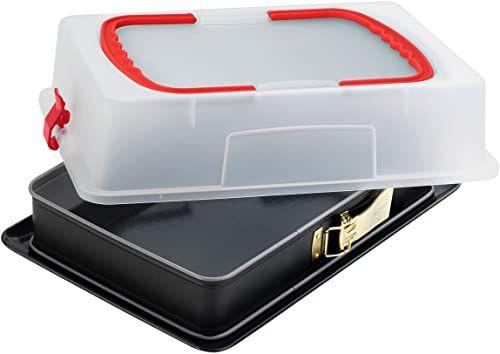 Dr. Oetker Prostokątna forma do wyciskania z pokrywką, 38 x 25 cm, emaliowana, prostokątna blacha do ciasta, z bardzo wysokim pudełkiem transportowym, ilość: 1 sztuka