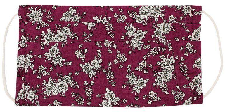 Bordowa Antywirusowa Maseczka Ochronna, Bawełniana -ALTIES- Wielorazowa, Uniwersalna, w Kwiatki MASALTS0013