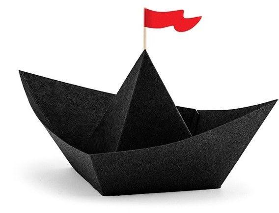 Łódki papierowe na słodycze Piraci czarne 6 sztuk DP2