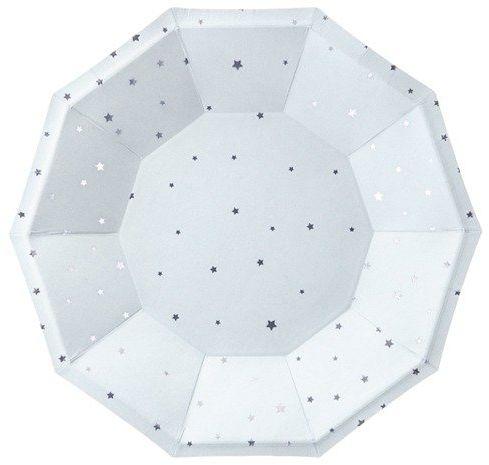 Błękitne talerzyki papierowe w srebrne gwiazdki 18cm 6 sztuk TPP51-001J