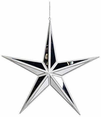 EUROCINSA Ref.27005 gwiazda zawieszka lustro białe 28 cm 6 sztuk, rozmiar uniwersalny