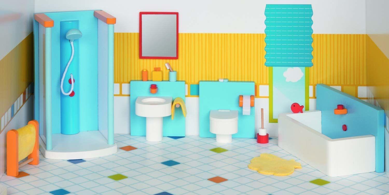GOKI 51541 Meble do elastycznych lalek, łazienki, mieszane