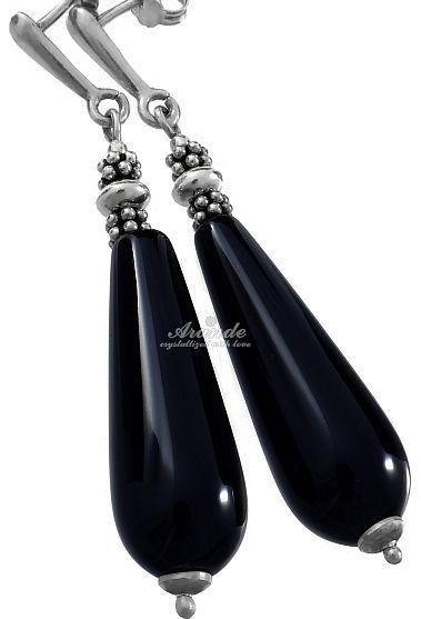 ONYKS CZARNY piękne długie kolczyki SREBRO