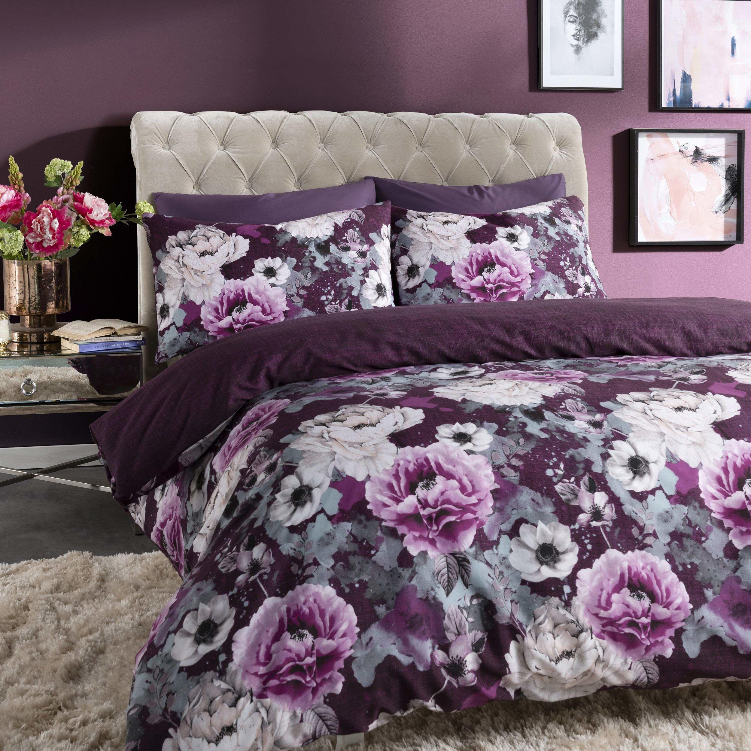 Sleepdown Inky Kwiatowy Fioletowy Dwustronny Poszwa na kołdrę i Poszewki na poduszki Zestaw pościeli (KIng)