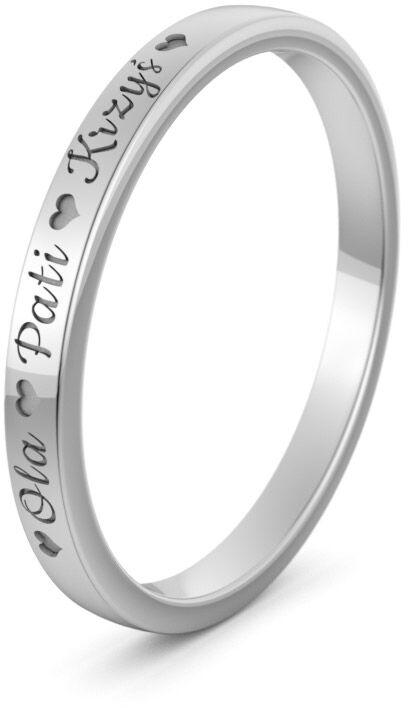Pierścionek obrączkowy srebrny z imionami - Ag-589