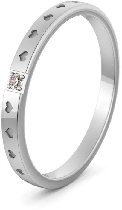 Pierścionek obrączkowy srebrny z sercami - Ag-590