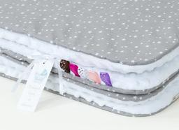 MAMO-TATO Kocyk Minky dla niemowląt i dzieci 75x100 Mini gwiazdki białe na szarym / biały