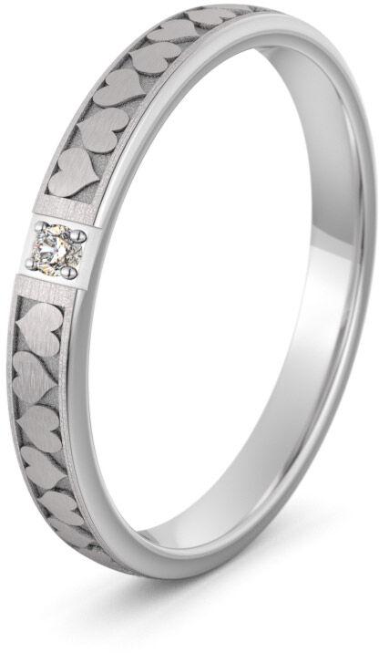 Pierścionek obrączkowy srebrny z sercami - Ag-591