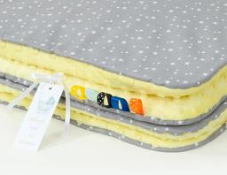 MAMO-TATO Kocyk Minky dla niemowląt i dzieci 75x100 Mini gwiazdki białe na szarym / żółty