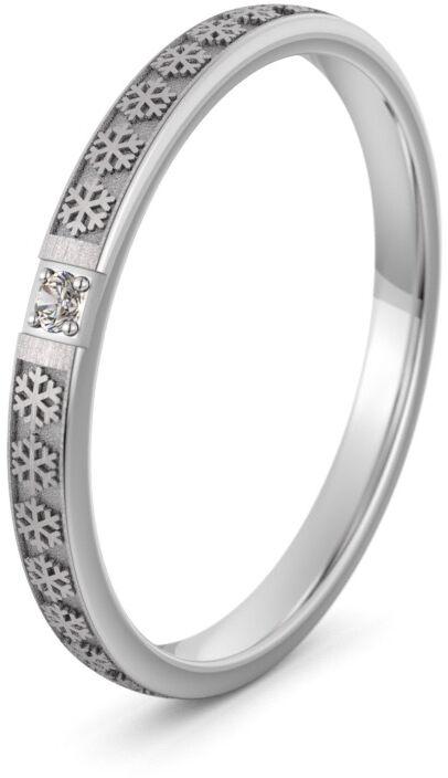 Pierścionek obrączkowy srebrny z płatkami śniegu - Ag-592