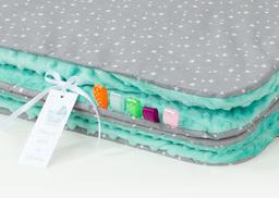 MAMO-TATO Kocyk Minky dla niemowląt i dzieci 75x100 Mini gwiazdki białe na szarym / miętowy