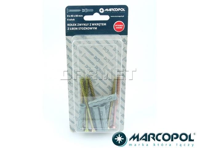 Kołki rozporowe z wkrętami 8 x 40 x 80 mm, 6 szt. - MARCOPOL (QB0143)