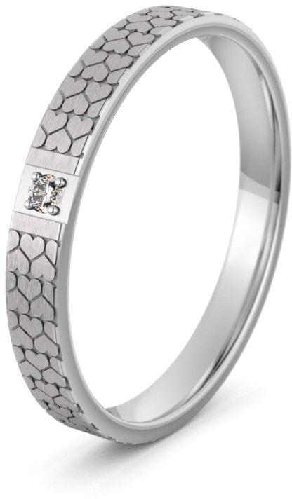 Pierścionek obrączkowy srebrny z sercami - Ag-593