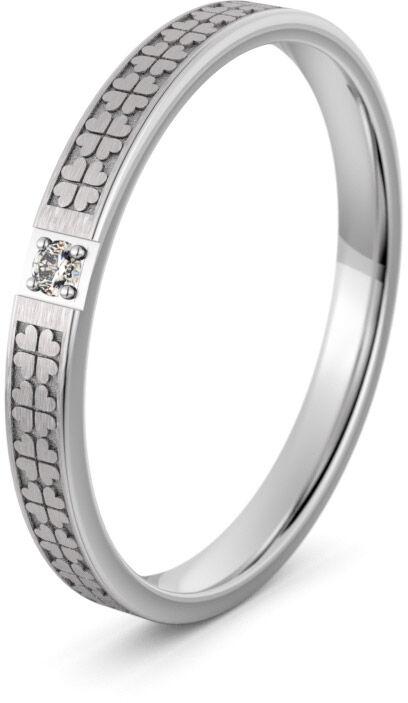 Pierścionek obrączkowy srebrny z koniczynami - Ag-594