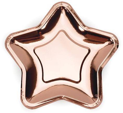 Talerzyki papierowe Gwiazdka różowe złoto metalizowane 18cm 6 sztuk TPP11-019R