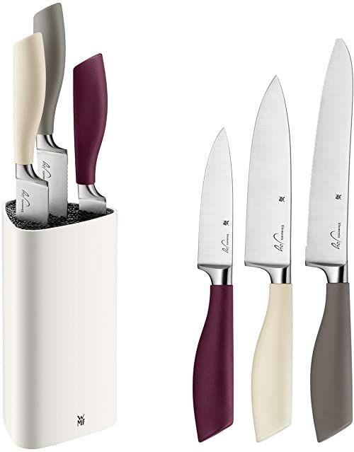 WMF blok do noży z 4 elementami z ząbkowaną krawędzią kute specjalne ostrze stalowe uchwyt i blok nożowy wykonany z wysokiej jakości tworzywa sztucznego