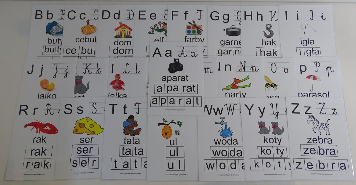 Alfabet- karty edukacyjne - wersja 2 - z kierunkiem pisania liter