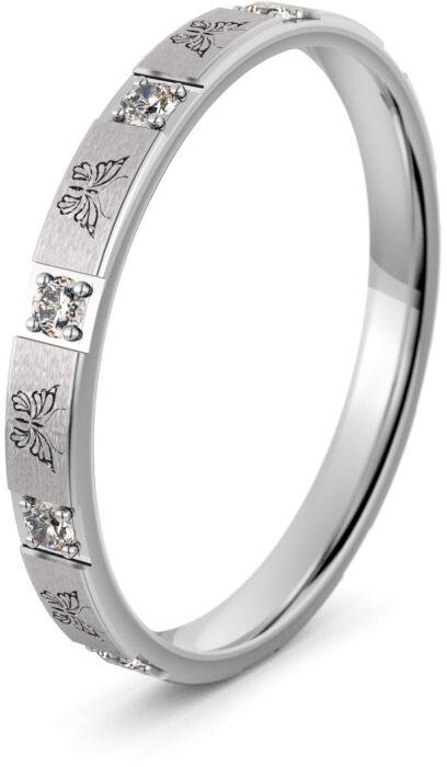Pierścionek obrączkowy srebrny z motylami - Ag-596