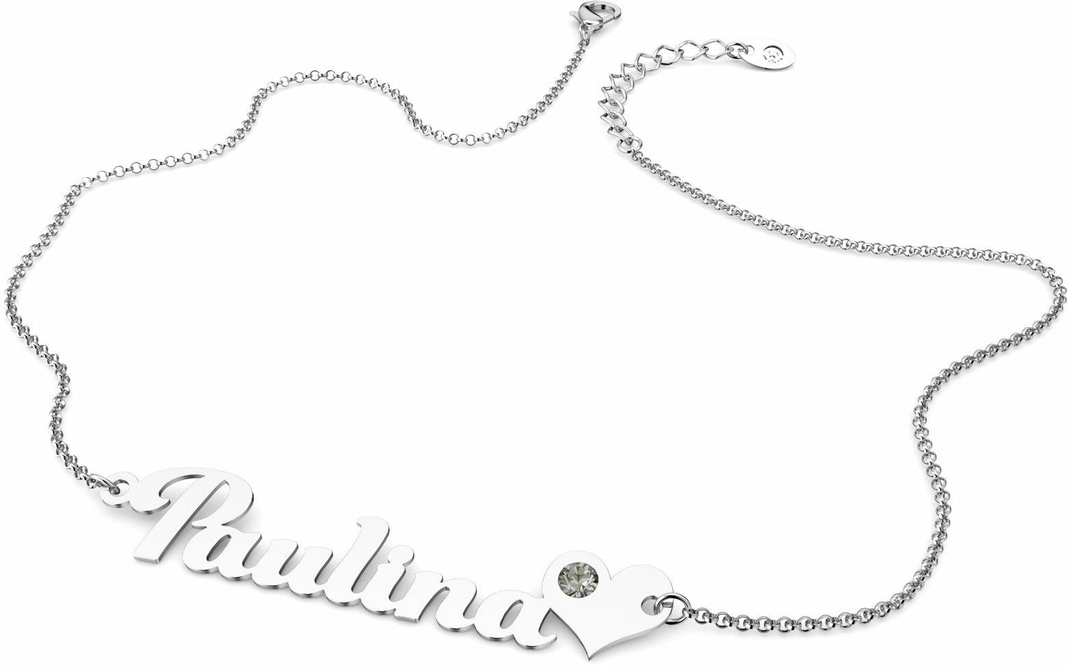 Naszyjnik srebrny z imieniem i sercem Swarovski Crystals