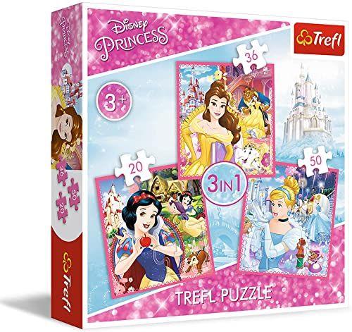 Trefl Zaczarowany Świat Księżniczek Puzzle 3 w 1 Disney Princess o Wysokiej Jakości Nadruku dla Dzieci od 3 lat