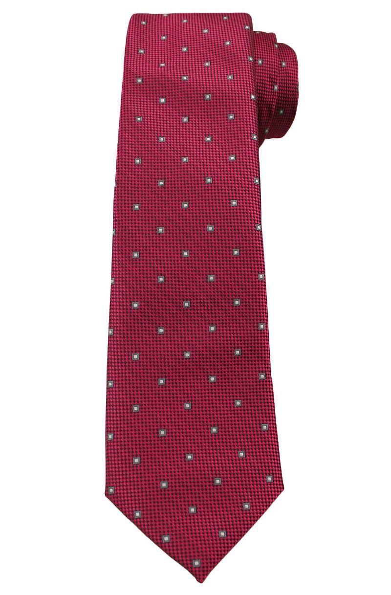Ciemny Czerwony Elegancki Krawat -Angelo di Monti- 6 cm, Męski, Wzór Geometryczny KRADM1511