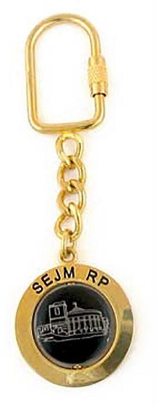 Brelok metalowy, obrotowy, Sejm RP, złoty