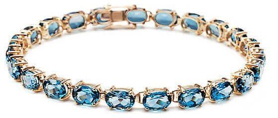 Złota bransoleta - Topaz błękitny