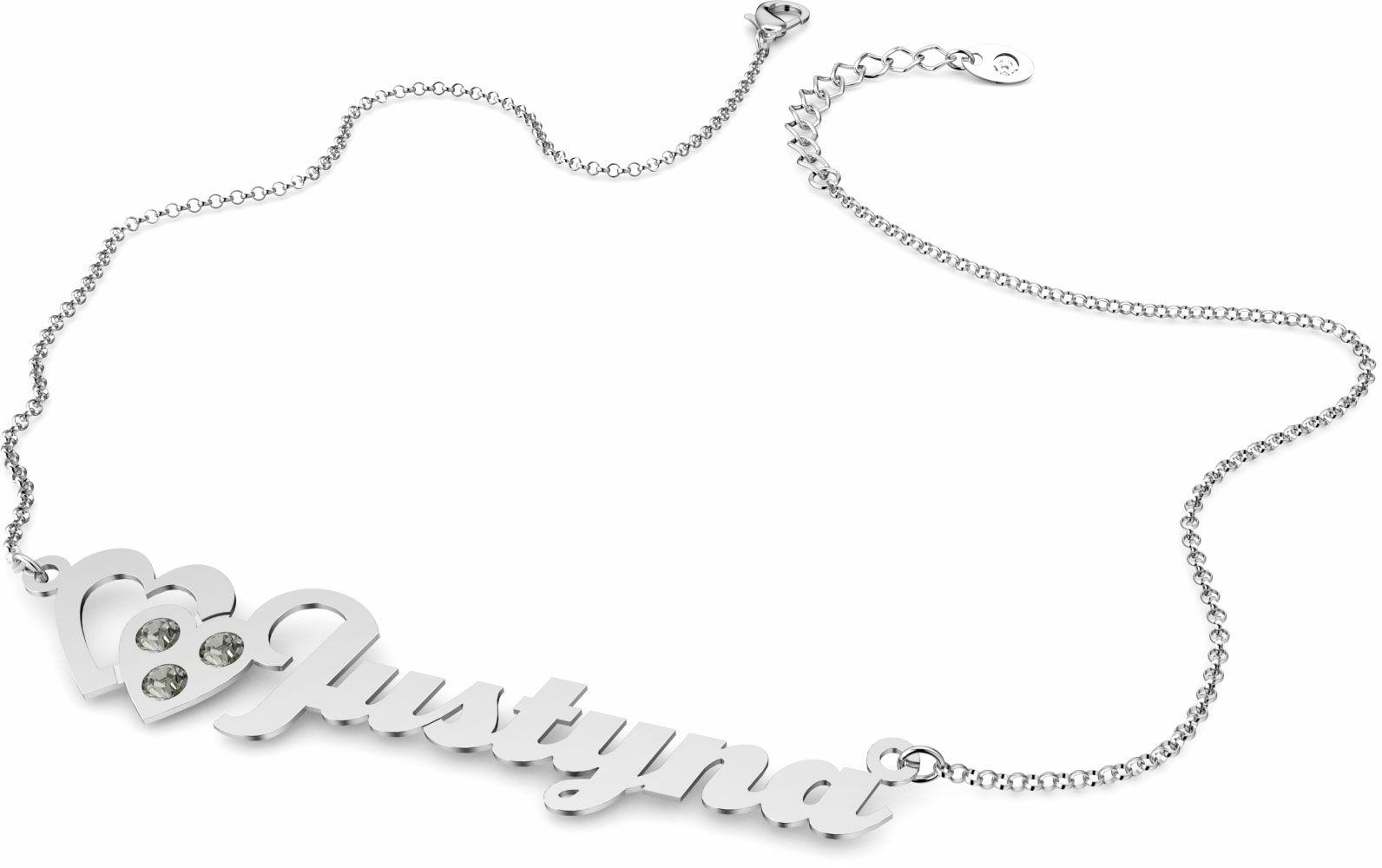 Naszyjnik srebrny z imieniem i sercami Swarovski Crystals