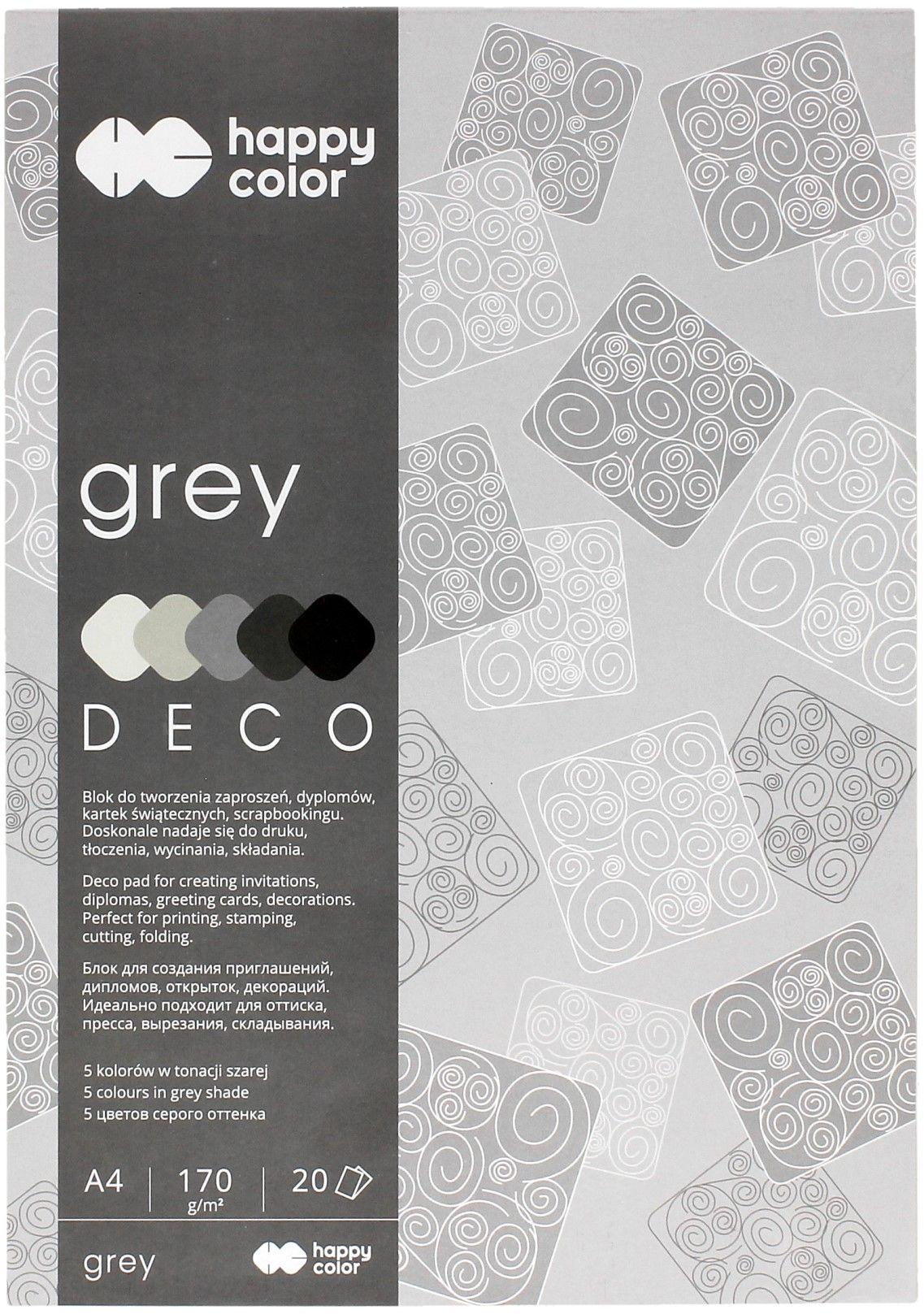 Blok Deco A4/20 5kol szary HappyColor 2030-082
