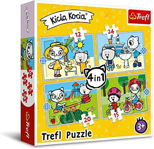 Trefl Dzień Kici Koci Puzzle 4 w 1 o Wysokiej Jakości Nadruku dla Dzieci od 3 lat