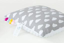 MAMO-TATO Poduszka Minky dwustronna 30x40 Chmurki białe na szarym / biały