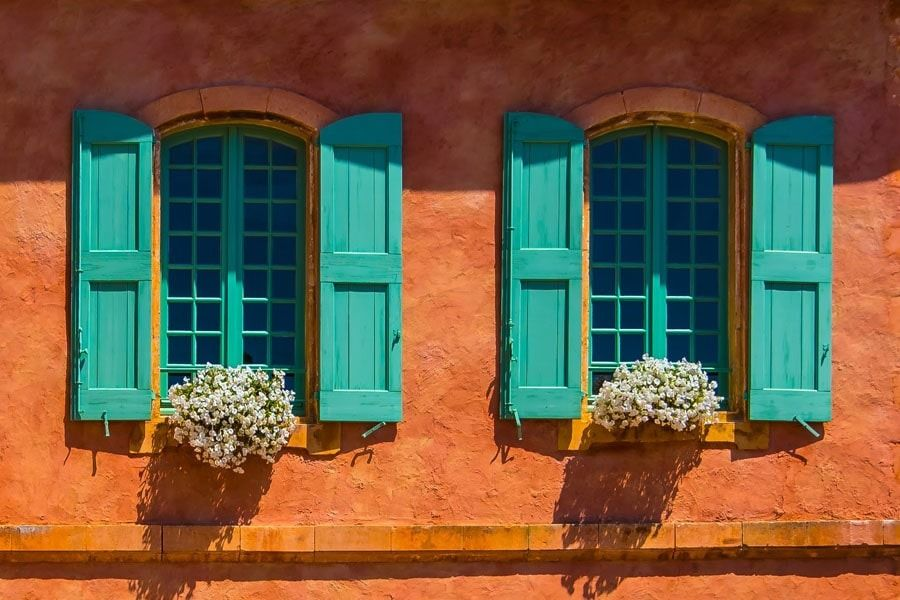 Turkusowe okiennice - plakat premium wymiar do wyboru: 100x70 cm