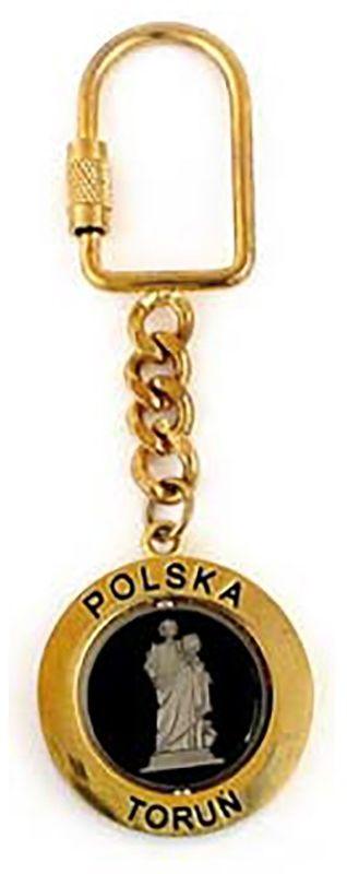 Brelok metalowy, obrotowy, Toruń, złoty