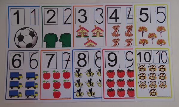 Cyfry od 1 do 10 - karty edukacyjne wersja z kierunkiem pisania cyfr Cyfry