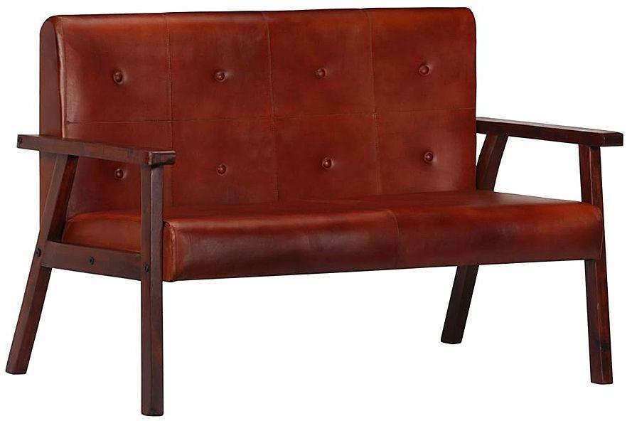 Sofa 2-osobowa ze skóry naturalnej Leno - brązowa