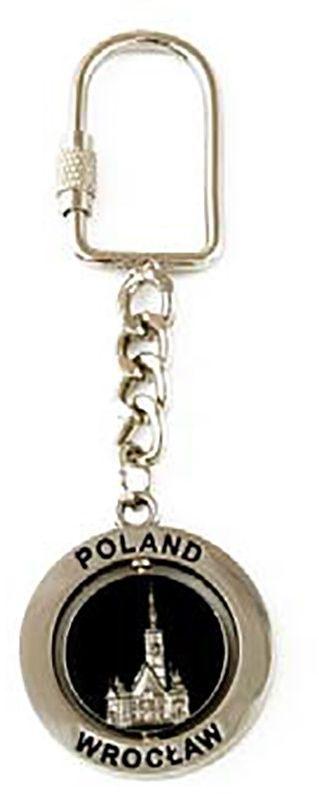 Brelok metalowy, obrotowy, Wrocław, srebrny