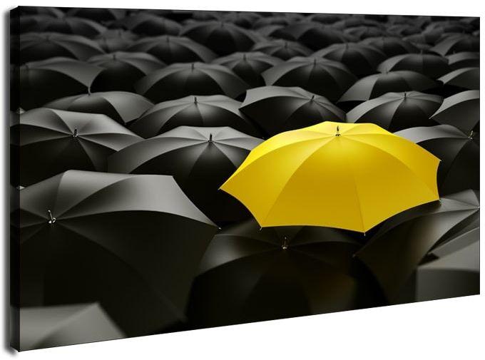 Żółta parasolka - obraz na płótnie wymiar do wyboru: 70x50 cm