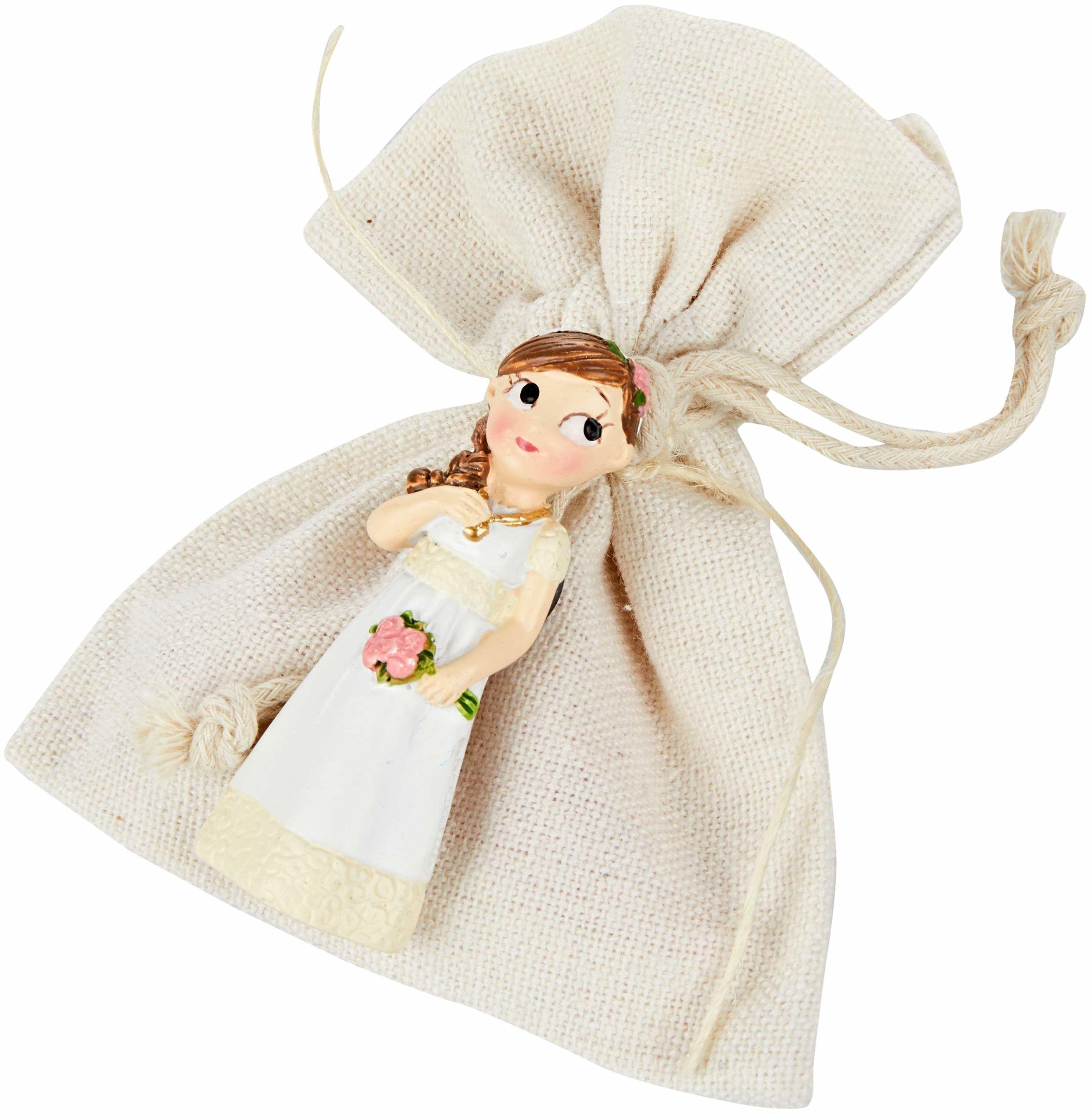 Mopec ZD9690 magnes dla dziewcząt, na komunię, romantyczny, w woreczku, 3 słodycze, materiał, wielokolorowy, rozmiar uniwersalny