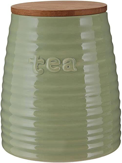 Premier Housewares Pojemnik na herbatę zielony dolomit kuchnia pojemniki do przechowywania z wytłoczonym prążkowanym szczegółem bambusowa pokrywka 14 wys. x 12 szer. x 12 gł