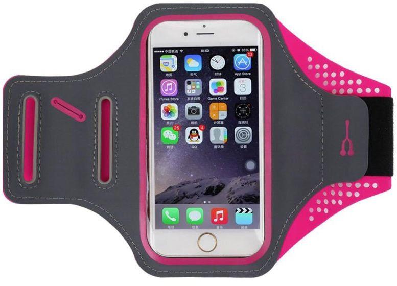 Etui na ramię sportowe do biegania na telefon wodoodporne 5.5 cala różowe