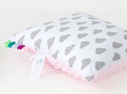 MAMO-TATO Poduszka Minky dwustronna 30x40 Chmurki szare na bieli / jasny róż