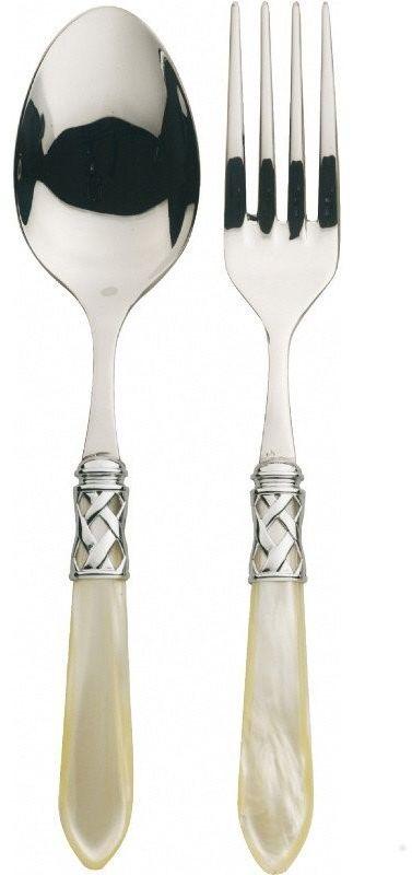 Casa bugatti - aladdin - komplet (łyżka + widelec do sewowania) - perłowa kość słoniowa