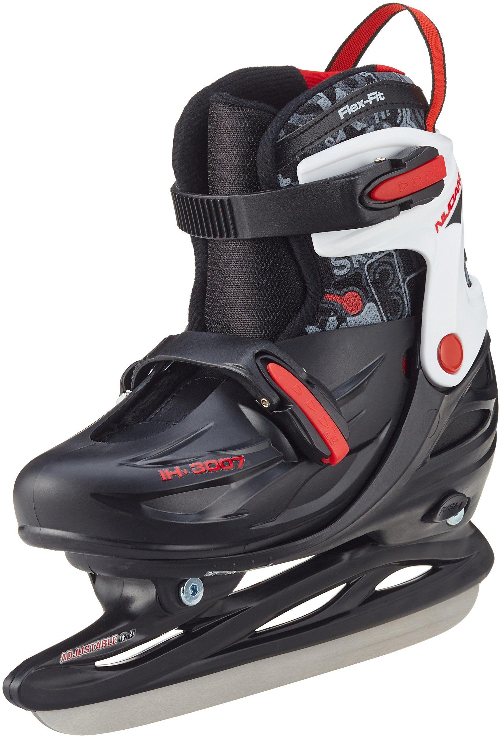 Nijdam Dziecięce łyżwy do hokeja na lodzie, regulowane, czarny/srebrny/czerwony, 30-33