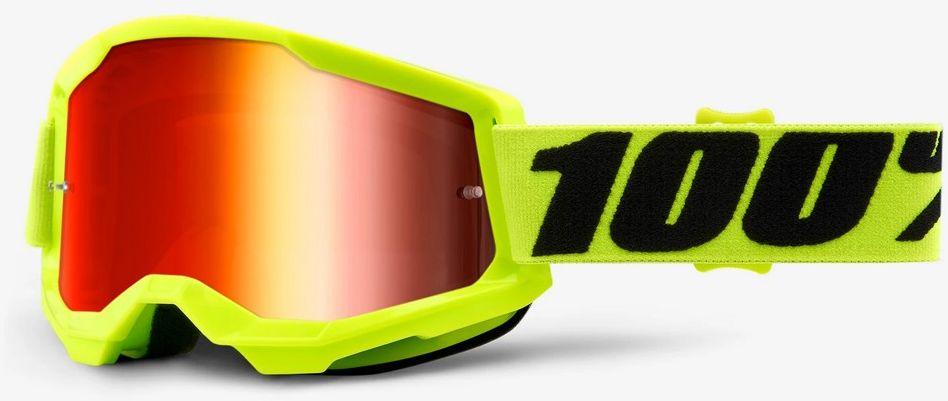 100% gogle rowerowe STRATA 2 (szyba czerwona lustrzana Anti-Fog, LT 38%+/-5%) fluo yellow STO-50421-251-04,841269168250