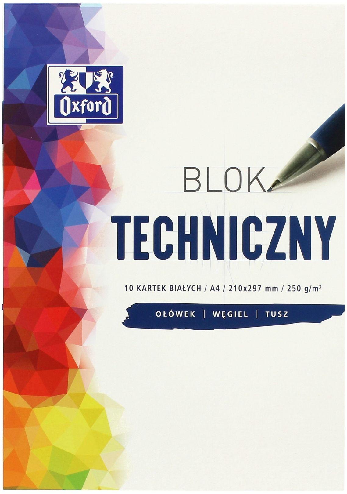 Blok techniczny A4/10 biały 250g Oxford 400093199