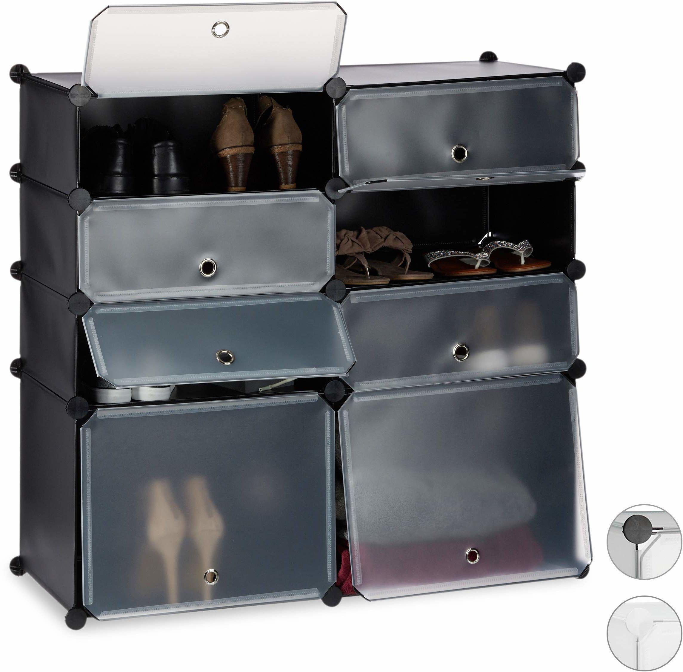 Relaxdays szafka z tworzywa sztucznego, 8 przegródek na buty, regał modułowy, czarny, 91 x 94,5 x 36,5 cm