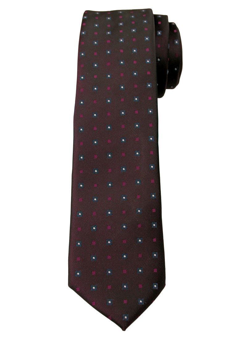 Brązowy Elegancki Krawat -Angelo di Monti- 6 cm, Męski, w Drobny Wzór Geometryczny KRADM1523