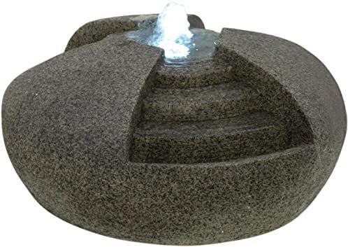 EUROPALMS fontanna, kamień wodny, pompa, pierścień LED z 6 diodami LED o zimnej białej barwie światła i dołączonego zasilacza w zakresie dostawy wysokość: 22 cm głębokość: 50 cm szerokość: 50 cm